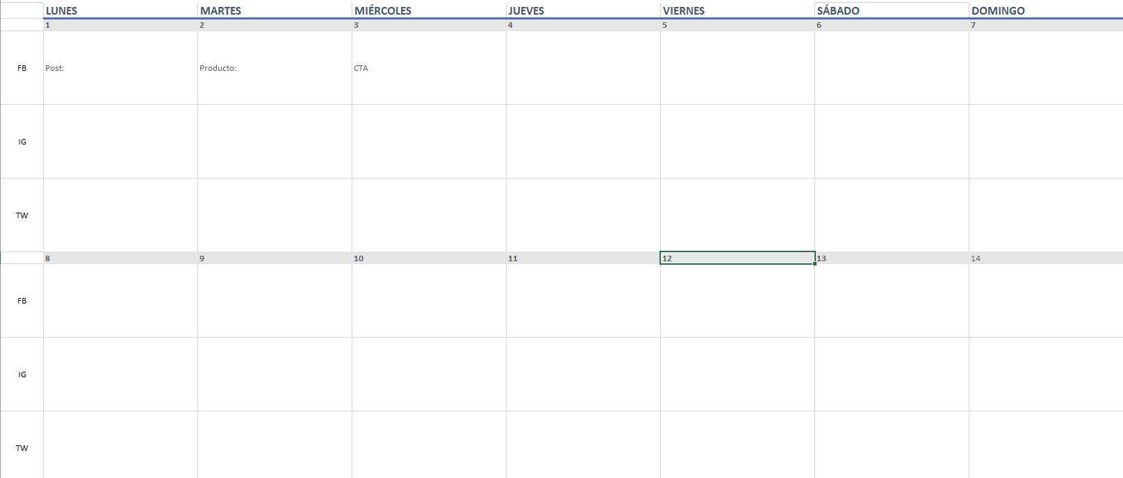 Calendario de gestión y planificación de contenidos 2020