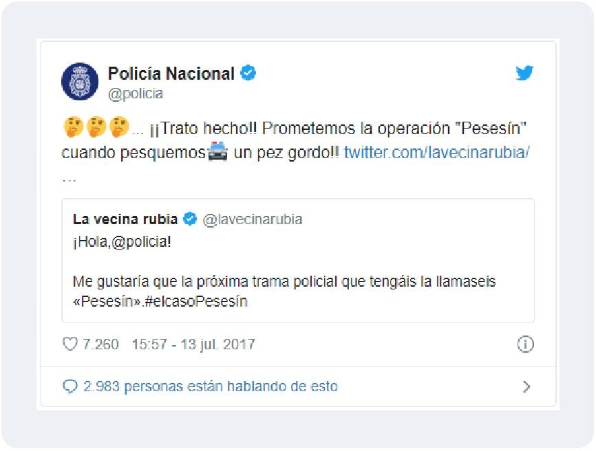 tweet policia nacional de redes sociales en las empresas