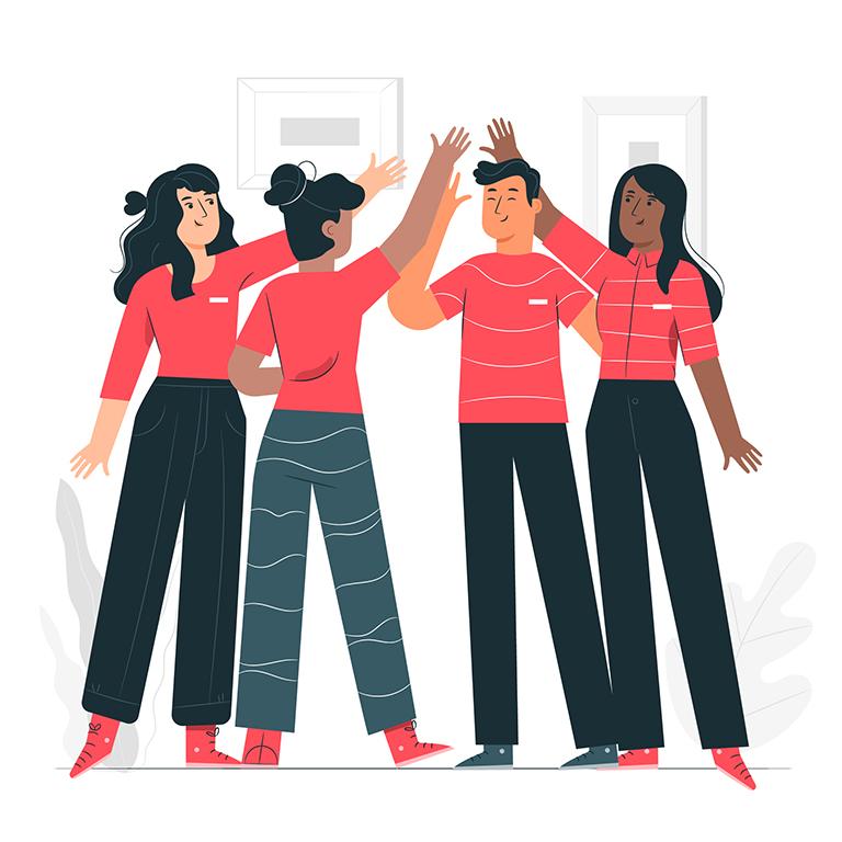 equipo de ventas unido haciendo teambuilding
