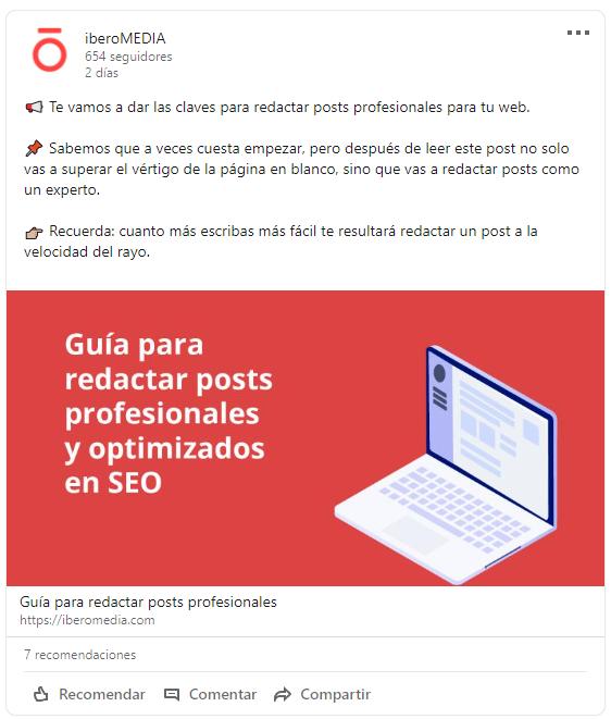 Captura de pantalla en twitter sobre IberoMEDIA
