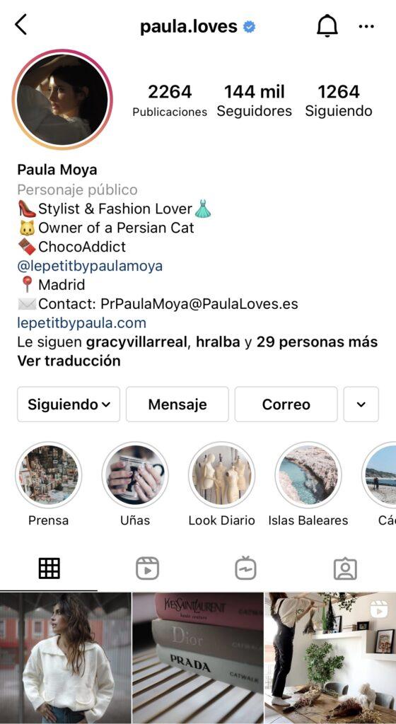 Captura de pantalla del perfil de Instagram de Paula Loves.