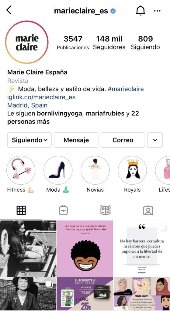 Captura de pantalla del perfil de Instagram de la revista de moda Marie Claire España.