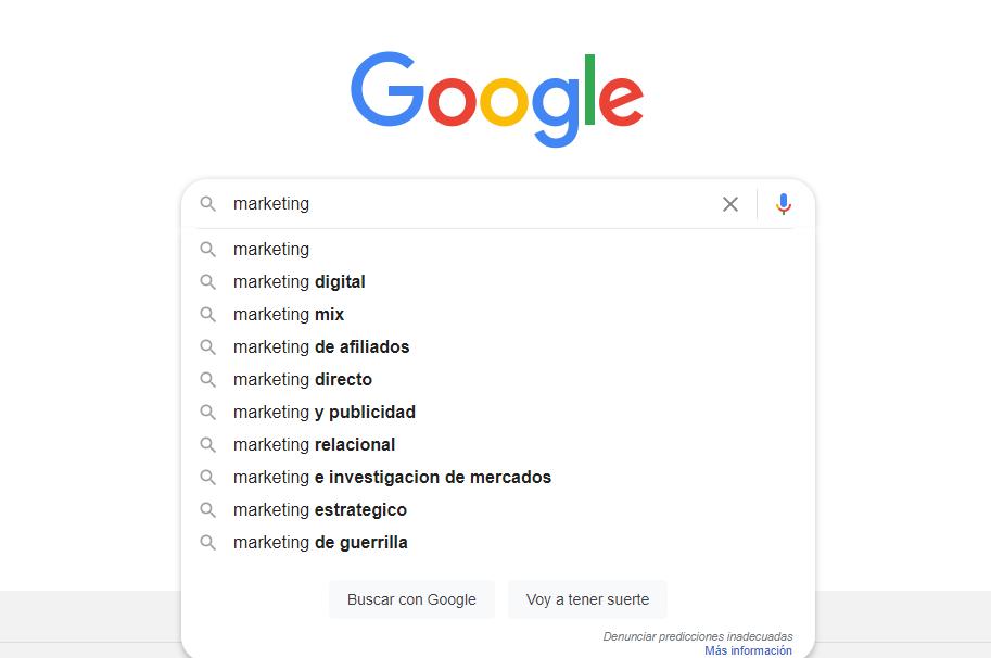 Búsqueda de palabras clave long tail en Google